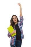 Il giovane studente con i manuali isolati su bianco Fotografia Stock