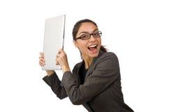 Il giovane studente con il computer portatile su bianco Fotografie Stock