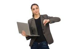 Il giovane studente con il computer portatile su bianco Immagine Stock Libera da Diritti