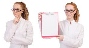 Il giovane studente di medicina con il raccoglitore isolato su bianco Immagini Stock