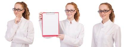 Il giovane studente di medicina con il raccoglitore isolato su bianco Fotografia Stock