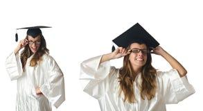 Il giovane studente isolato su bianco Immagine Stock