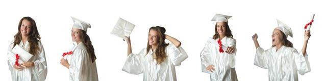 Il giovane studente isolato su bianco Fotografia Stock
