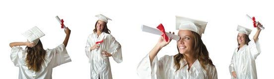 Il giovane studente isolato su bianco Fotografie Stock