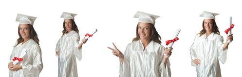 Il giovane studente isolato su bianco Fotografia Stock Libera da Diritti