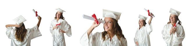 Il giovane studente isolato su bianco Immagini Stock Libere da Diritti