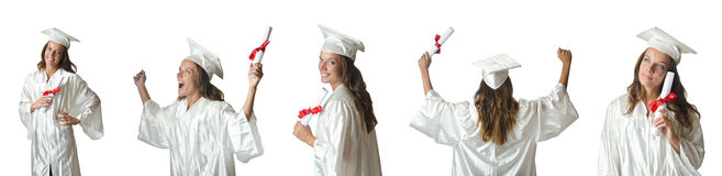 Il giovane studente isolato su bianco Fotografie Stock Libere da Diritti