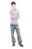 Il giovane tirante sorridente isolato su un bianco Fotografie Stock