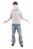 Il giovane tirante sorridente isolato su un bianco Immagini Stock Libere da Diritti