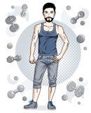 Il giovane uomo adulto della brunetta felice con la barba ed i baffi è interim royalty illustrazione gratis