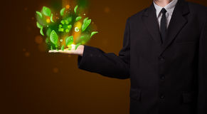 Il giovane uomo d'affari che presenta a eco la foglia verde ricicla il conce di energia Immagini Stock