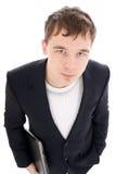 Il giovane uomo d'affari con il computer portatile isolato Fotografia Stock Libera da Diritti