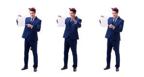 Il giovane uomo d'affari del diavolo isolato su bianco immagini stock libere da diritti
