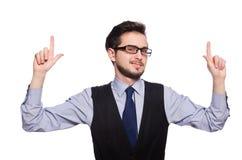 Il giovane uomo d'affari isolato su bianco Immagine Stock