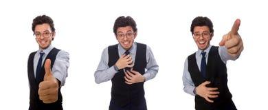 Il giovane uomo d'affari nel concetto divertente su bianco fotografia stock libera da diritti