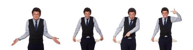 Il giovane uomo d'affari nel concetto divertente su bianco fotografie stock libere da diritti