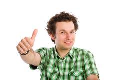 Il giovani adulto e pollici aumentano il gesto Fotografie Stock