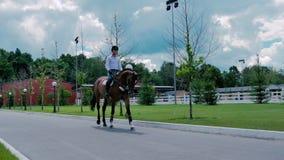 Il giro dell'uomo sul cavallo sulla strada video d archivio
