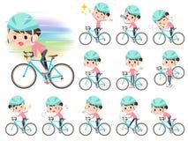 Il giro di stile dei pantaloni della mamma dei capelli del panino sopra ha guidato la bicicletta royalty illustrazione gratis