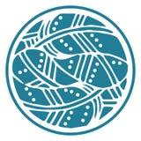 Il giro ornamentale mette le piume alla mandala su fondo bianco Rosetta di Digital Fotografia Stock Libera da Diritti