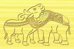 Il giunto dell'elefante e della mucca dirige il legno che scolpisce l'arte Immagini Stock Libere da Diritti