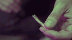 Il giunto di rotolamento con l'erbaccia germoglia il primo piano Cultura di fumo nel mondo immagini stock libere da diritti