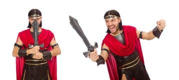 Il gladiatore che posa con la spada isolata su bianco Immagine Stock Libera da Diritti