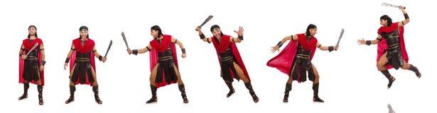 Il gladiatore con la spada isolata su bianco Immagine Stock
