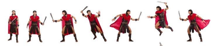 Il gladiatore con la spada isolata su bianco Fotografia Stock Libera da Diritti