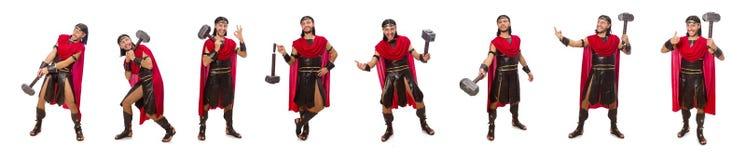 Il gladiatore con il martello isolato su bianco Fotografia Stock