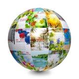 Il globo composto delle fotografie con il calendario Fotografia Stock