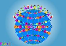 Il globo con i fiori e la gente come simbolo di pace sul pianeta Fotografia Stock Libera da Diritti