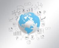 Il globo con la mappa di mondo e disegna un'icona della matita Fotografia Stock