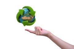 Il globo con le frecce dell'erba di ricicla Fotografie Stock Libere da Diritti