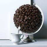 Il globo creato dei chicchi di caffè con il manifesto del modello dietro 3d si strappa Fotografia Stock Libera da Diritti