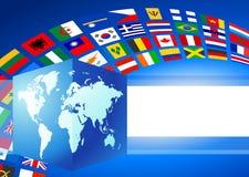 Il globo del cubo con il mondo inbandiera la bandiera Fotografie Stock Libere da Diritti