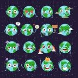 Il globo del fumetto con le icone di web di emozione si inverdisce il mondo felice del pianeta della terra di espressione e dell' Fotografie Stock Libere da Diritti