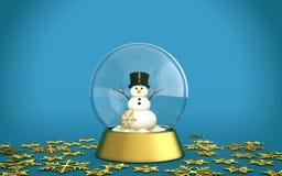 Il globo della neve di Natale con il pupazzo di neve e la neve dorata si sfalda con fondo blu Fotografie Stock