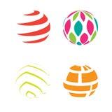 Il globo della sfera dell'icona di logo modella l'estratto rotondo geometrico illustrazione di stock
