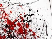 Il gocciolamento delle macchie nere e rosse di pittura simili all'olio combustibile scorrente del sangue spruzza, gocce e tracce immagine stock