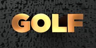 Il golf - testo dell'oro su fondo nero - 3D ha reso l'immagine di riserva libera della sovranità Fotografie Stock