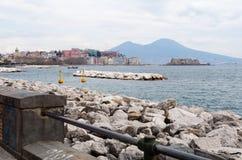 Il golfo di Napoli da passeggiata Immagini Stock
