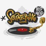Il graffio dei graffiti relativi hip-hop dell'etichetta ha influenzato la progettazione con una piattaforma girevole per la magli illustrazione vettoriale