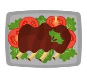 Il grafico delizioso della gastronomie e dell'alimento ha isolato la progettazione piana Fotografia Stock