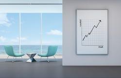 Il grafico di concetto di affari di turismo nella stanza di vista del mare, tira la parte anteriore in secco Fotografia Stock