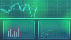 Il grafico di dati di statistiche mostra l'uscita annuale di produzione, piano di sviluppo economico stock footage