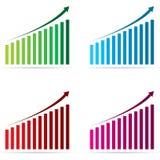 Il grafico di percentuale della barra di affari in verde, in blu, il rosso ed il rosa progettano su un fondo bianco Immagine Stock
