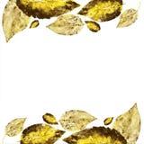 Il grafico di vettore disegnato a mano che incide il giallo va su bianco, la foglia dell'impronta del bollo, struttura progettata illustrazione di stock