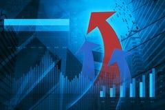 Il grafico i grafici di affari e finanziario e con la freccia rossa si dirigono Fotografie Stock Libere da Diritti