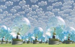 Il gran numero di testa umana ha modellato le lampadine sotto le nuvole Fotografie Stock